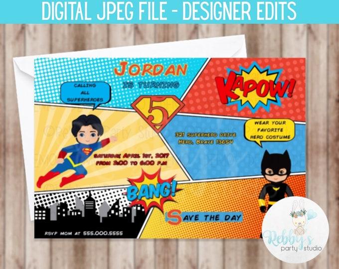 Superboy and Batboy Superhero Comic Birthday Invitation - Digital Printable File Designer Edits