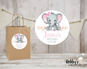 Elephant Girl Personalized Baby Shower Round Stickers , Personalized Favor Stickers , Baby Shower Stickers , 10 Different Sizes Available