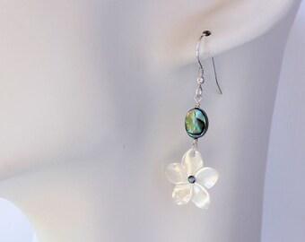 Abalone Plumeria Earrings,  Paua Frangipani Earrings, Hawaiian Earrings, Bridesmaid Gift, Plumeria Shell Earrings, Beach Wedding Earrings