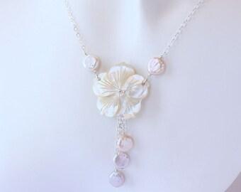 Coin Pearl Plumeria Necklace, Frangipani Necklace, Hawaiian Necklace, Beach Wedding Necklace, Plumeria Shell Necklace, Tropical Necklace