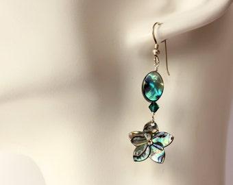 Abalone Plumeria Earrings, Paua Frangipani Earrings, Hawaiian Earrings, Shell Earrings, Tropical earrings, Bridesmaid Gift, Abalone Earrings