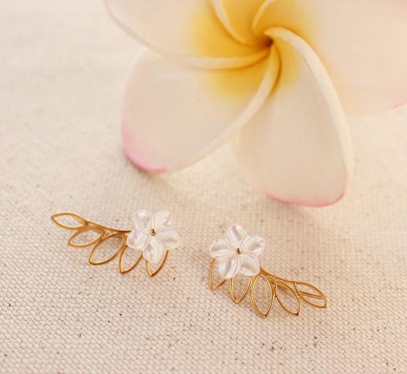 Mother of Pearl Frangipani Earrings Hawaiian Earrings Bridesmaid Gift Beach Wedding Earrings Silver Plumeria Earring Climbers