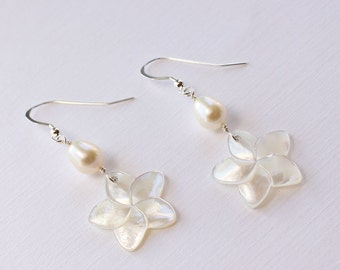 Plumeria Shell Earrings, Pearl Plumeria Earrings, Shell Hawaiian Earrings, Frangipani Earrings, Beach Wedding Earrings, Bridesmaid Gifts