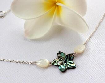 Abalone Plumeria Necklace, Paua Frangipani Necklace, Hawaiian Shell Necklace, Beach Wedding Necklace, Bridesmaid Gifts, Plumeria Shell