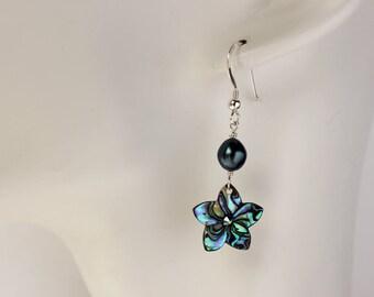 Abalone Plumeria Shell Earrings, Paua Frangipani Earrings, Hawaiian Flower Earrings, Tropical Plumeria Jewelry, Bridesmaid Gifts, Paua Shell