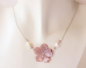 Plumeria Shell Necklace, Pearl Plumeria Necklace, Hawaiian Necklace, Tropical Necklace, Beach Wedding Necklace, Bridesmaid Gift, Frangipani