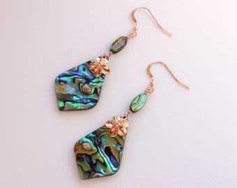 Abalone Pendant Plumeria Earrings, Paua Frangipani Earrings, Hawaiian Earrings, Tropical Earrings, Rose Gold Plumeria, Shell Earrings
