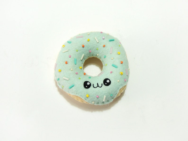 Felt Kawaii Donut Plush turquoise (light)