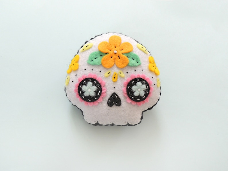 Felt sugar skull Day of the Dead Halloween plush image 0