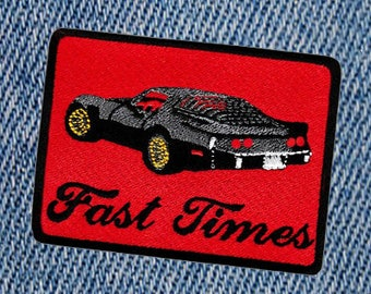 """Awesome Vintage Style 70's Patch """"Fast Times"""" """"Keep on Truckin"""" Sports Car Racing Patch 8.5cm Iron On"""
