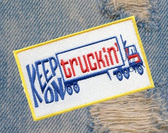 """Awesome Vintage Style 70's Patch """"Keep on Truckin"""" Big Rig Truck 12cm / 4.7 inch Applique"""