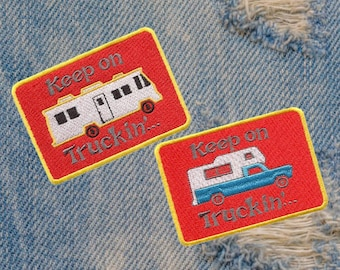 """Awesome Vintage Style 70's Patch """"Keep on Truckin"""" Camper Pickup Truck RV"""