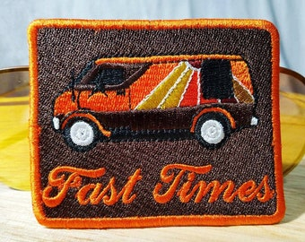 """Awesome Vintage Style 70's Patch """"Fast Times"""" """"Keep on Truckin"""" Custom Van Shaggin Wagon Patch 8.5cm Iron On"""