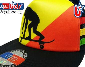 3e540fe3be1 SmARTpatches Trucker Rasta Gorilla Trucker Hut Mütze Skater Rastafari  Jamaica Reggae DJ von Lidstars Kopfbedeckungen
