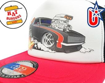 smARTpatches Truckers Vintage Style 70 s Hot Rod Trucker Hat Car Cap by  lidstars headwear 497c9740c839