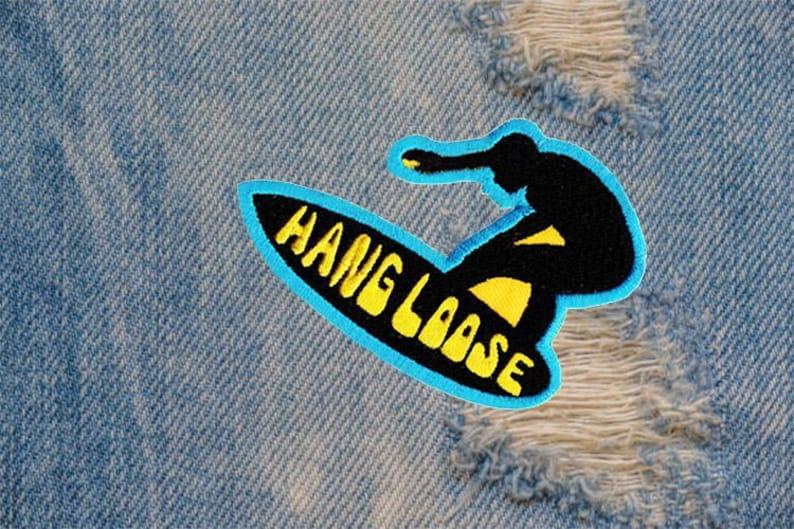 Cool Vintage 70/'s 80/'s Style Hang Loose Morale Surfing Surfer Surf Patch Badge Cap Hat Shirt 9cm Applique