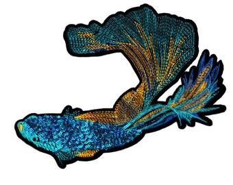 Beautiful XXL Extra Large 27cm Beta Fish Patch (Siamese Fighting Fish)