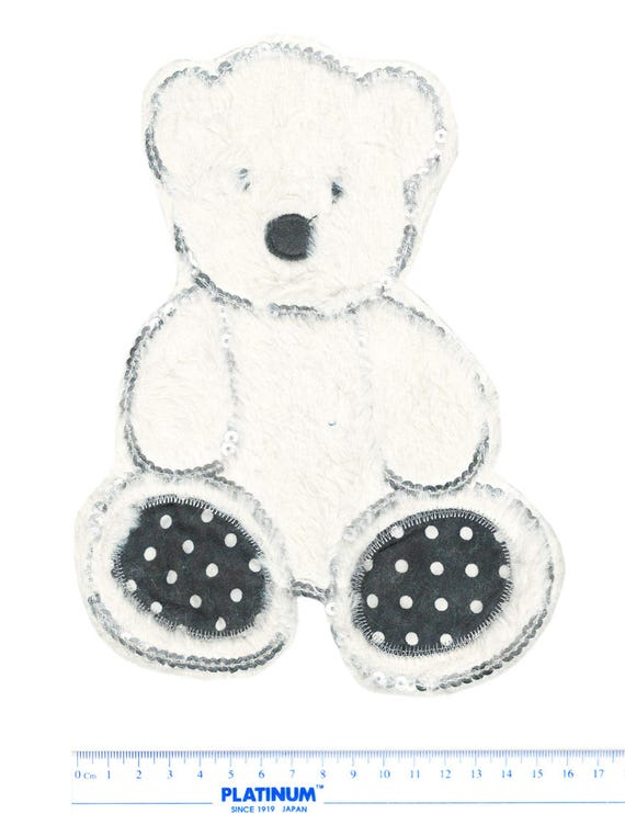 XXL Extra Large /& Cute Furry with Sequins Teddy Bear Patch 22cm