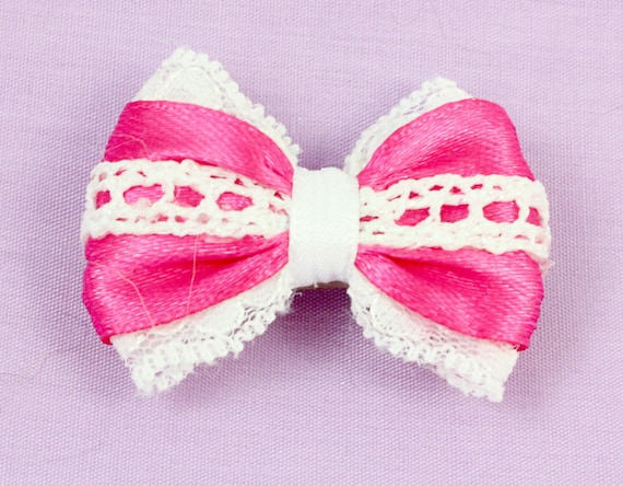 d6196cad0df94 Hot Pink Hair Bow with White Lace. Bright Pink Bow for Dogs.