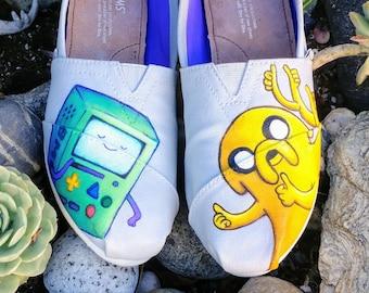 dc7b6ff7a3 Custom Hand Painted BMO Adventure Time Custom Shoes Vans Toms Finn Jake  Lumpy Space Princess oh my glob vans converse rick and morty