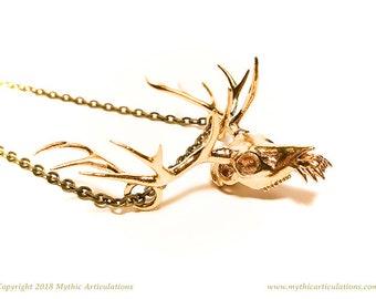 Wendigo Skull Pendant in 3D Printed Bronze