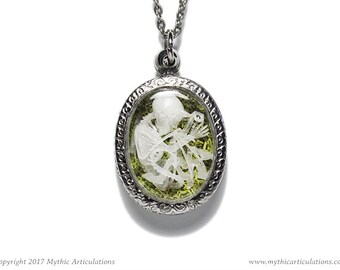 Imp Skeleton Pendant with Moss Taxidermy Necklace
