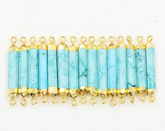 SALE Turquoise Point Connectors -- With Electroplated Gold Edge Charms Wholesale Supplies CQA-088,YHA
