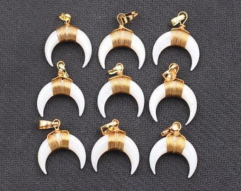 Shell pendant etsy small crescent moon white shell pendants with electroplated gold edge double horn charms wholesale cqa 025 aloadofball Choice Image