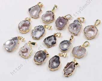 Amethyst Quartz White Resin Agate Druzy Silver Gold Plated Connectors Supply