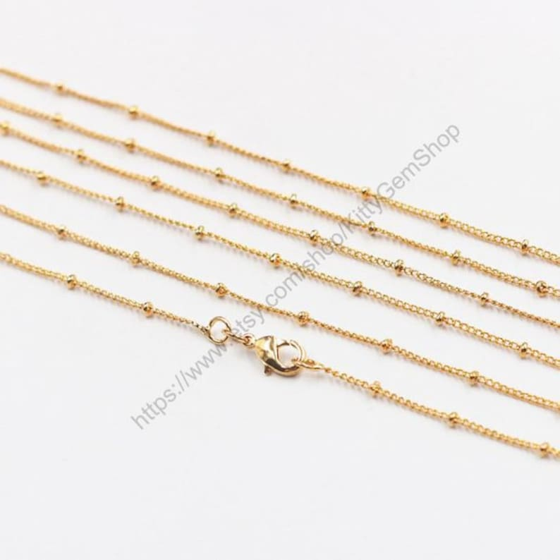 16-24 Satellite Chain Gold Plated Necklaces  With Losbter image 0