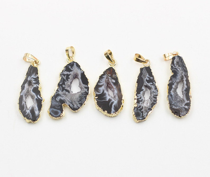 Geode Pendants  With Electroplated Gold Edge Druzzy Drusy image 0