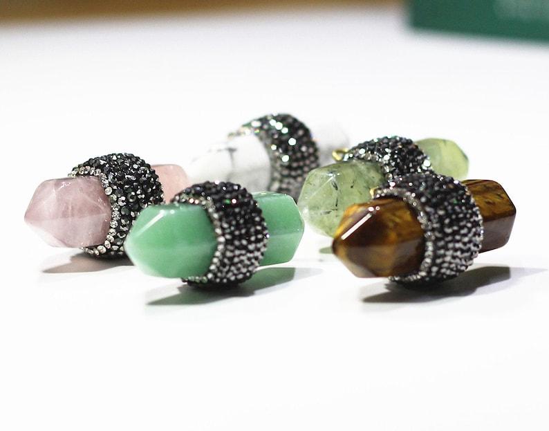 Point Pendants With pave rhinestone zircon diamond Wholesale howlite aventurine Rose Quartz prehnite tiger eyes for gemstone YHA-058