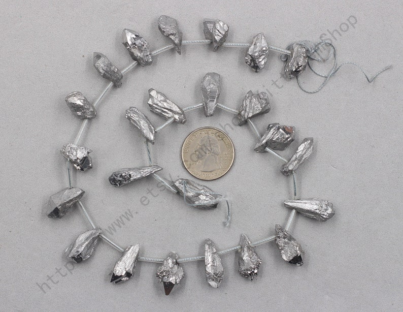 Silver Plated Raw Clear Quartz Beads Smooth Loose Gemstone Bead Wholesale CC-016