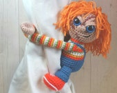 Crochet Chucky Curtain Tie Backs, Amigurumi PDF PATTERN ONLY, Horror Nursery Decoration, Man Cave Birthday Gift