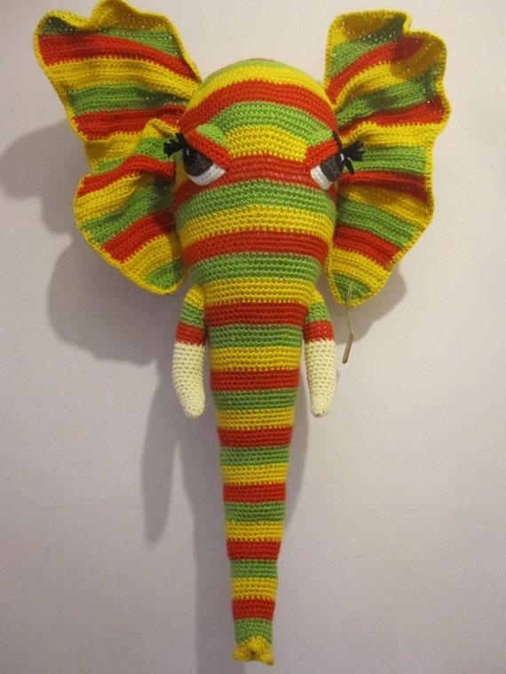 Crochet big elephant head wall hanging trophy by TalochKcreations ... | 760x570