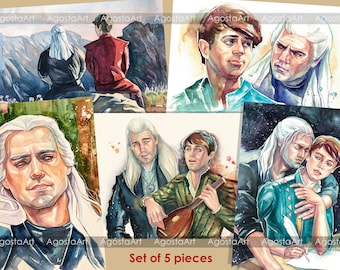 Toss a coin to your witcher, Geralt and Jaskier, Set of 5 postcards, gay couple