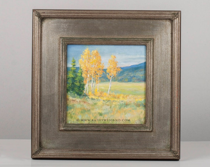 Original Oil Painting, Aspen Grove, Yellowstone Landscape