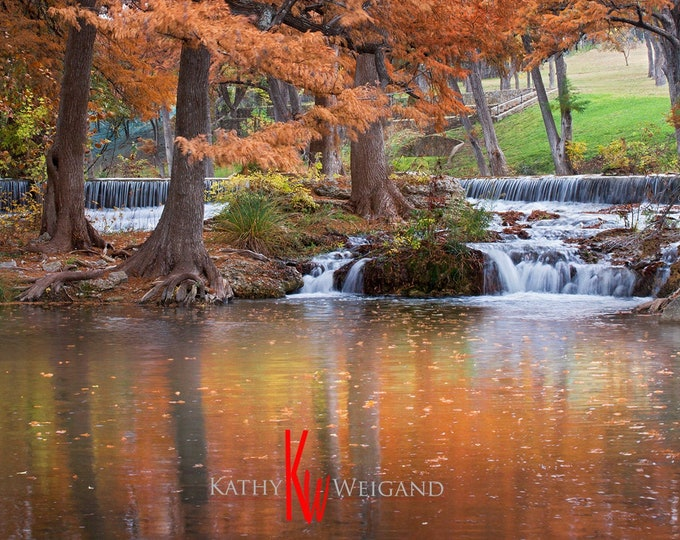 Schumacher's Crossing Hunt, Kerrville Texas Hill Country, Fall Cypress Trees Guadalupe River Signed Fine Art Print