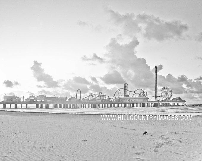 Pleasure Pier Galveston Texas, High Key B&W Fine Art Print