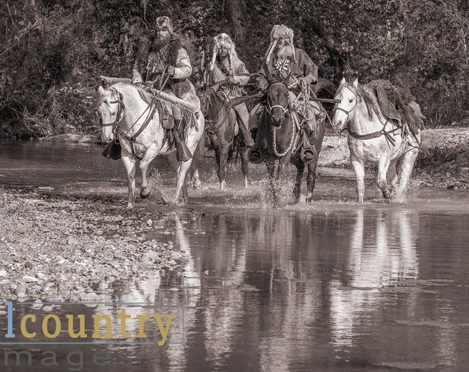 Mountain Men Crossing River, Western Fine Art Signed Print Canvas