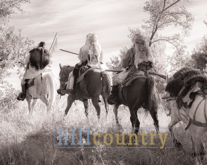 Mountain Men On the Trail, Western Fine Art Signed Print Canvas