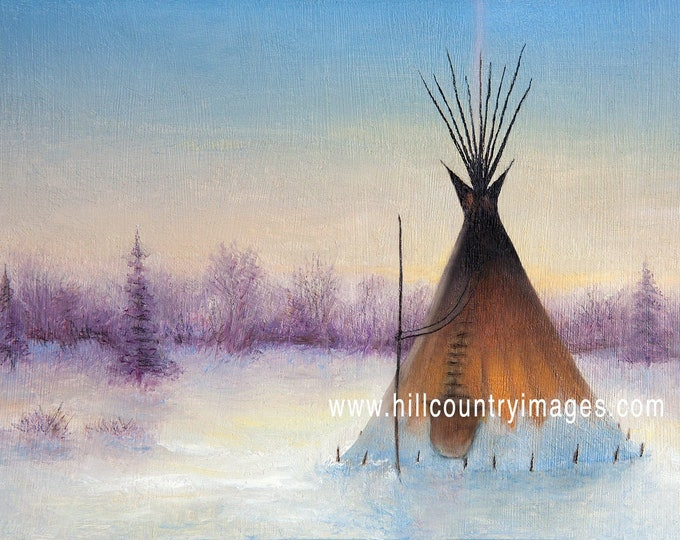 5x7 Christmas Holiday Note Cards, Native American Tipi Teepee Tepee Plains Tribes, oil painting, Art, Snow, Winter Folded Cards
