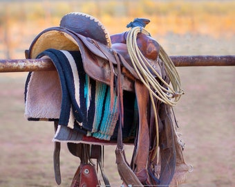 Mini Art Sale - Days End, New Mexico Cowboy Saddle Signed Print