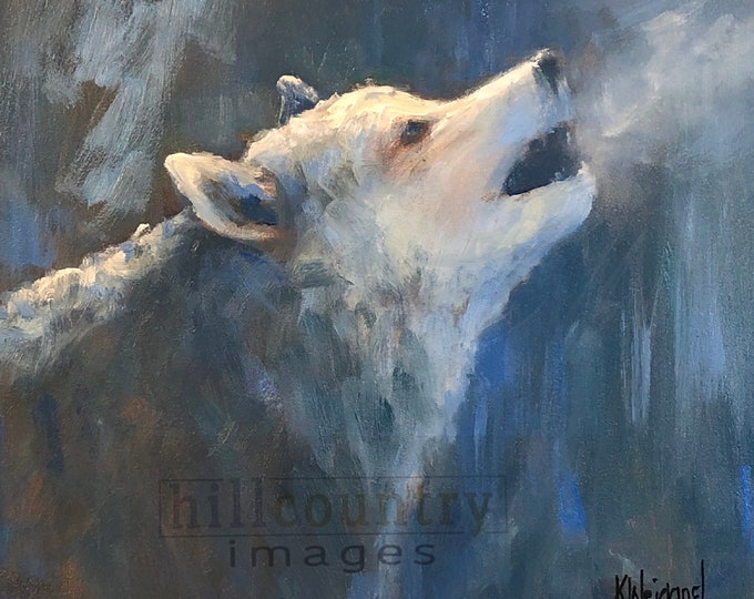 Moonlight Song, Wolf Oil Painting