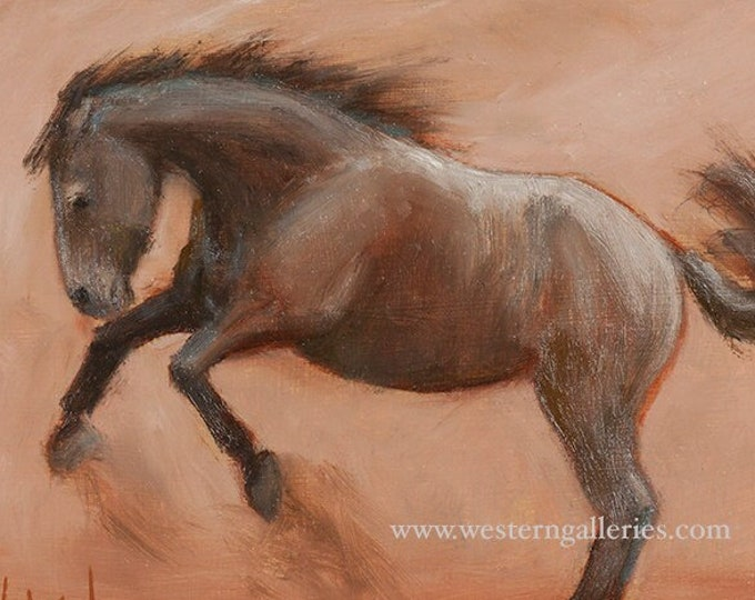 Equine At Play, Original Oil Painting