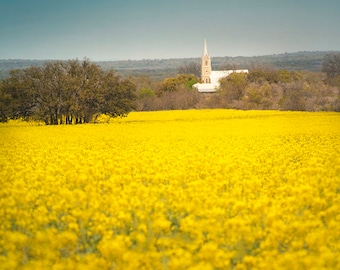 Doss Valley Texas, Church, Texas Hill Country, Fine Art Photography Print