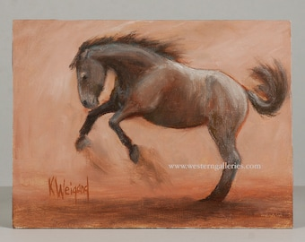 Original Oil Painting, Equine Horse Stallion At Play