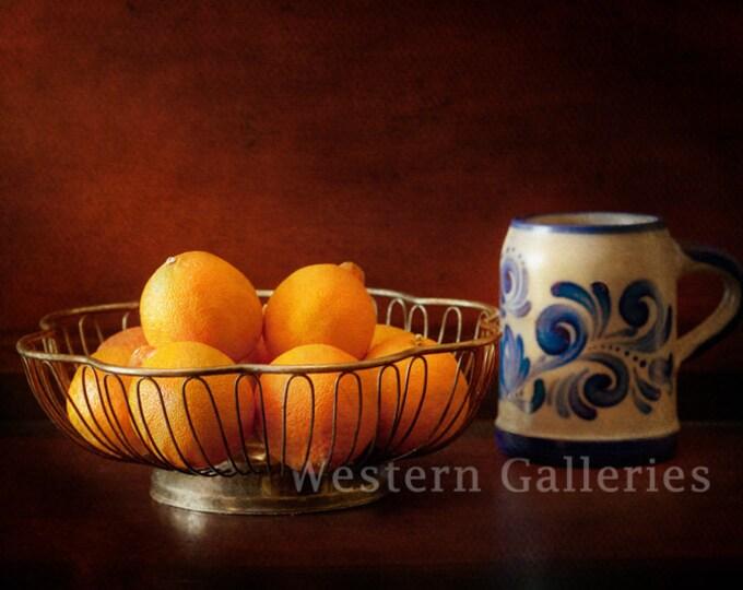 Salt Glazed Blue German Stein and Oranges, Old Master Style Photography Print