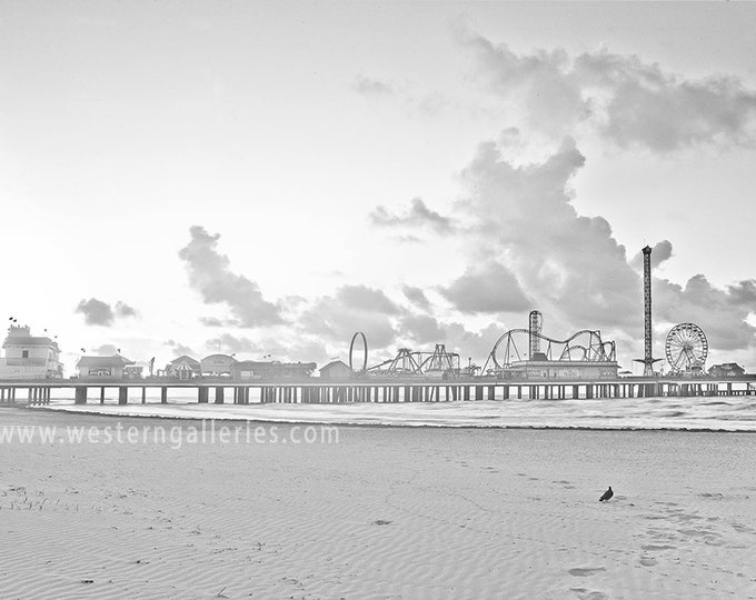 Pleasure Pier Galveston Texas, High Key B&W Fine Art Print