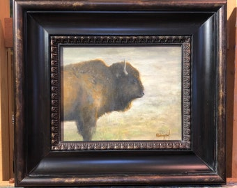 Bison Into The Light, Oil Painting